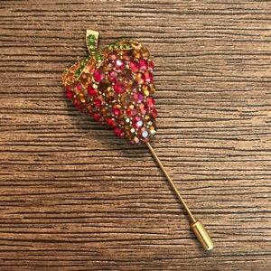 Aurora Borealis Rhinestone Strawberry Stick Pin